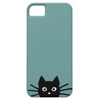 Black Cat on Blue (Color is Customizable) iPhone 5 Cover