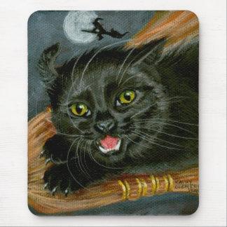 Black Cat on Broom Halloween Mousepad
