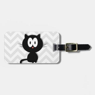 Black Cat on grey chevron Luggage Tag