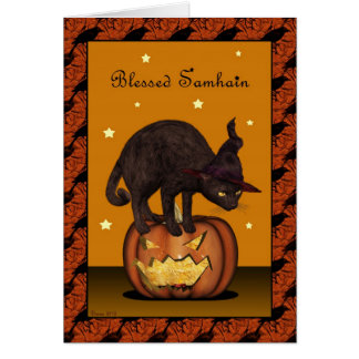 Black Cat on Jack-o-lantern Greeting Card