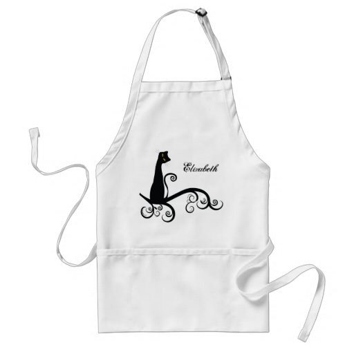 Black Cat On Swirly Branch Personalized Apron