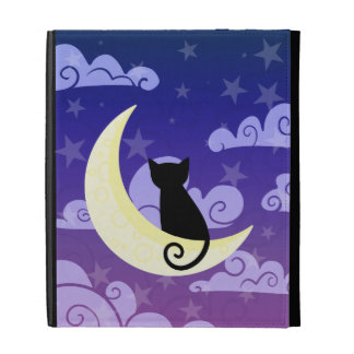 Black cat on the moon in starry night sky iPad case