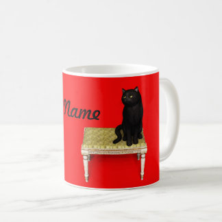 Black cat on the stool coffee mug