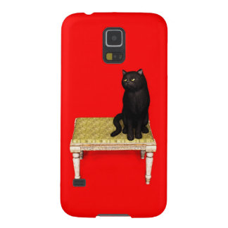 Black cat on the stool galaxy s5 cases
