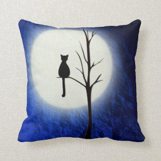 black cat on tree 2 throw pillow