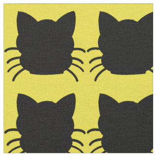 Black Cat on Yellow Background Fabric