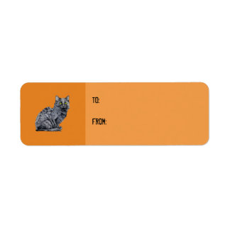 Black Cat orange Gift Tag Label Return Address Label