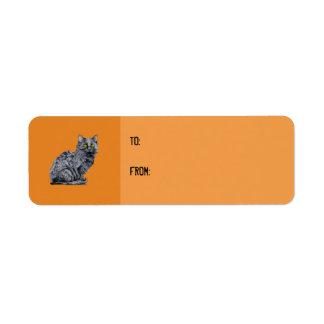 Black Cat orange Gift Tag Label Return Address Label