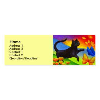Black Cat Painting Butterflies Art - Multi Business Card