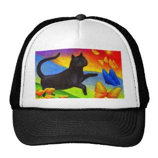 Black Cat Painting Butterflies Art - Multi Mesh Hats