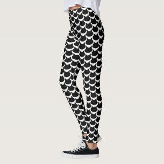 Black Cat Pattern Black & White Leggings