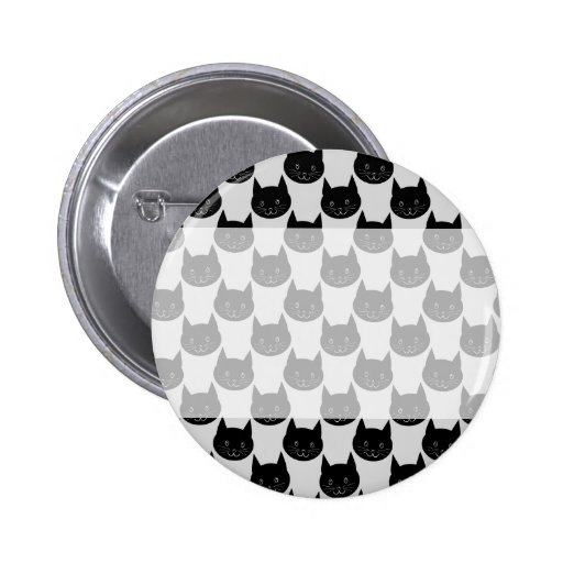 Black Cat Pattern on Light Gray. Pins