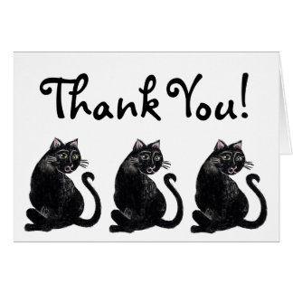 Black Cat Pattern Thank You Card