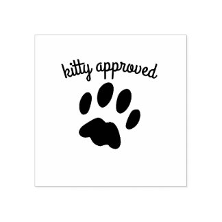 Black Cat Paw Print Kitty Approved Rubber Stamp