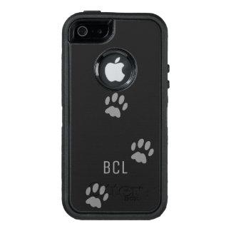 Black Cat Paw Print OtterBox Defender Personalised OtterBox Defender iPhone Case