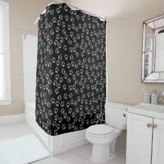 Black Cat Paw Print Pattern Shower Curtain