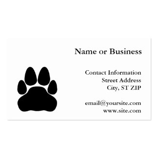 Black Cat Paw Print Shape Pack Of Standard Business Cards