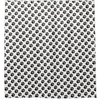 Black Cat Paw Print White Background Shower Curtain