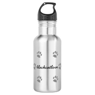 Black Cat Paws Custom Stainless Steel Water Bottle
