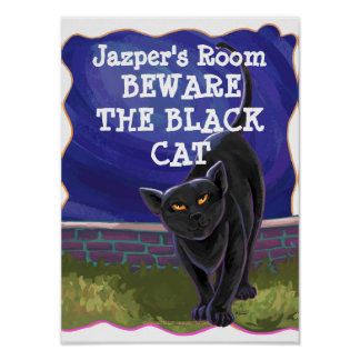 Black Cat Personalized Room Poster