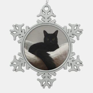 Black Cat Pewter Snowflake Decoration