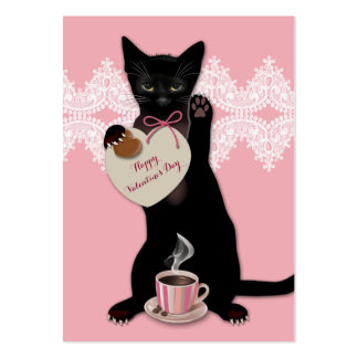 Black Cat Pink Valentine Pack Pack Of Chubby Business Cards