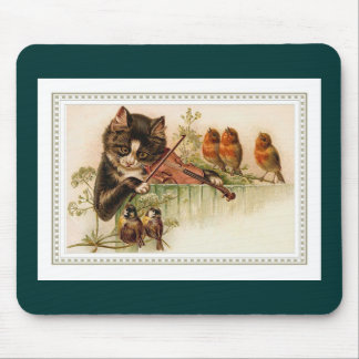 Black Cat Playing the Violin for Songbirds Mousepads