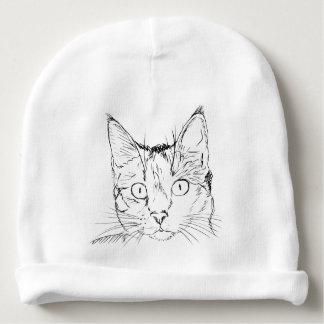 Black Cat Portrait Sketch Baby Beanie