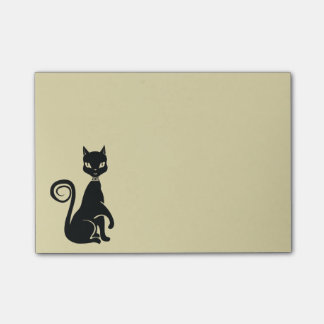Black Cat Posing Elegant Feline Illustration Post-it Notes