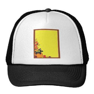 Black Cat Pumpkin Border Mesh Hat
