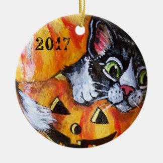 Black Cat & Pumpkin Halloween Ornament Date It!