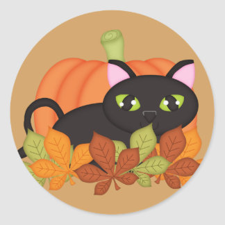 Black Cat & Pumpkin Halloween Sticker