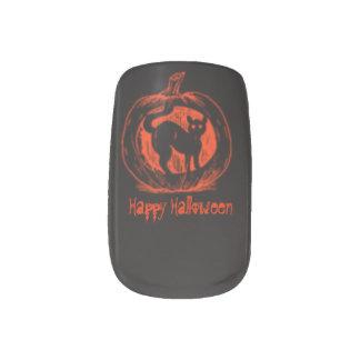 Black Cat & Pumpkin Happy Halloween Nail Art