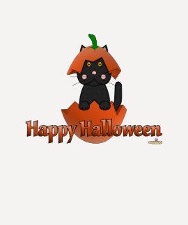 Black Cat Pumpkin Happy Halloween Tee Shirt