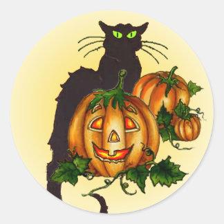 BLACK CAT PUMPKIN JACK by SHARON SHARPE Classic Round Sticker