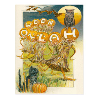 Black Cat Pumpkin Owl Bat Moon Postcard