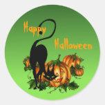 BLACK CAT PUMPKIN PATCH by SHARON SHARPE Round Sticker