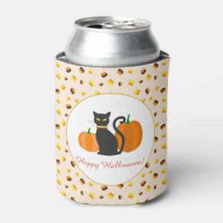 Black Cat, Pumpkins & Candy Corn Halloween Party Can Cooler