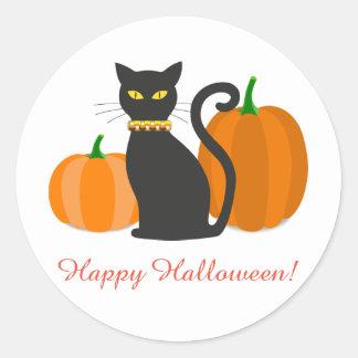 Black Cat & Pumpkins Halloween Classic Round Sticker