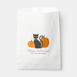 Black Cat & Pumpkins Halloween Party Custom Text Favour Bag