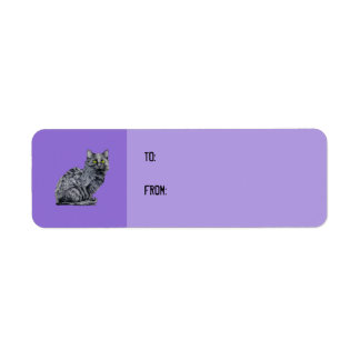 Black Cat purple Gift Tag Label Return Address Label