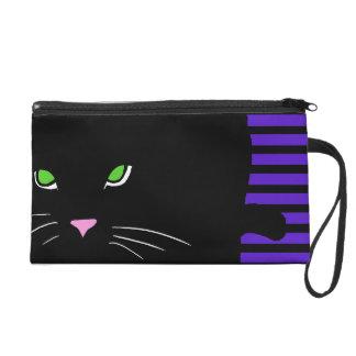 Black Cat Purple Street Style Pop Art CricketDiane Wristlet Purse