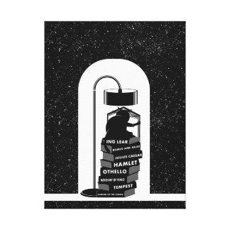 Black Cat Reading Shakespeare Plays Canvas Print