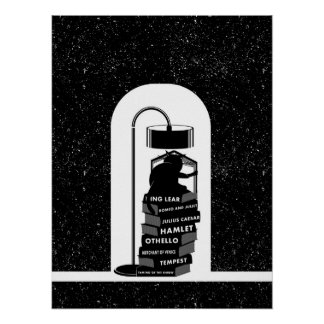 Black Cat Reading Shakespeare Plays Poster