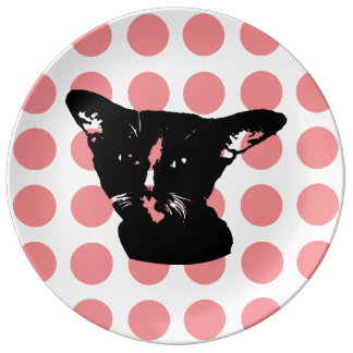Black Cat -red dots  Plate Porcelain Plate