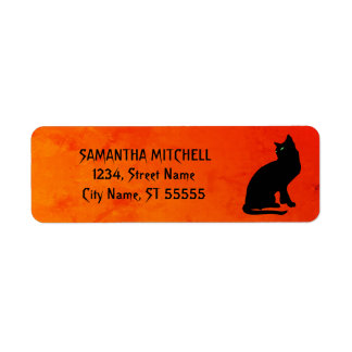 Black Cat Red Gothic Address Labels