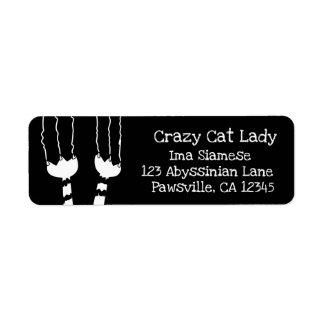Black Cat Return Address Labels Crazy Cat Lady