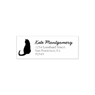 Black Cat Return Address Self Inking Rubber Stamp