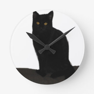 black Cat Round Clock