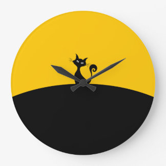 Black Cat Round (Large) Wall Clock
